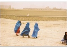 Women walking to polling station, Gardez, Oct. 2004