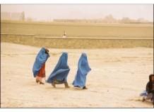 Women walking to polling station, Gardez, Oct. 2004